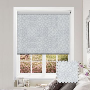 White Glitter Patterned Premium Roller Blind in Modena Silver Slate